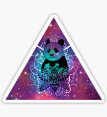 Black Panda in watercolor space background Sticker