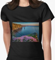 cliffs of moher sunset county clare ireland Womens Fitted T-Shirt