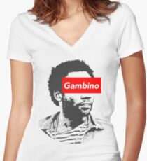 Childish Gambino art Women's Fitted V-Neck T-Shirt