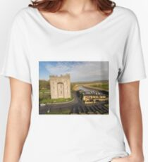 Aerial Bunratty Castle and Durty Nelly's Irish Pub Women's Relaxed Fit T-Shirt
