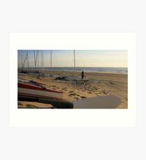 Zeilboten op het strand Art Print