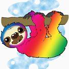 Rainbow Sloth by C. Ella