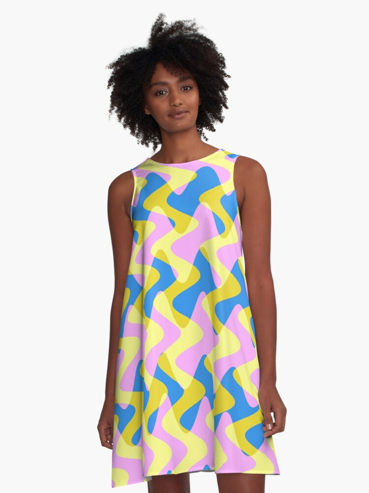 Crossfence Wave Pink - Electron Series 003 A-Line Dress Front