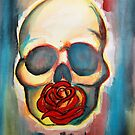 Watercolor Red Rose and Skull by Melisa Fales