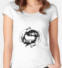 hands teeth tongue Women's Fitted Scoop T-Shirt