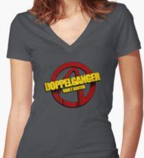 DOPPELGANGER Women's Fitted V-Neck T-Shirt