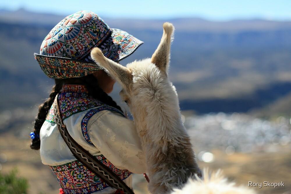 Peruvian Girl and Baby Alpaca by Rory Skopek