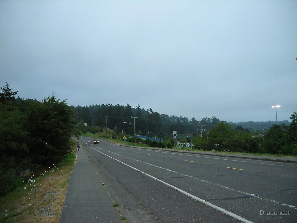 Arcata hills on overpass near library by Dragoncat
