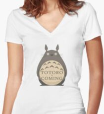 Totoro Is Coming Women's Fitted V-Neck T-Shirt