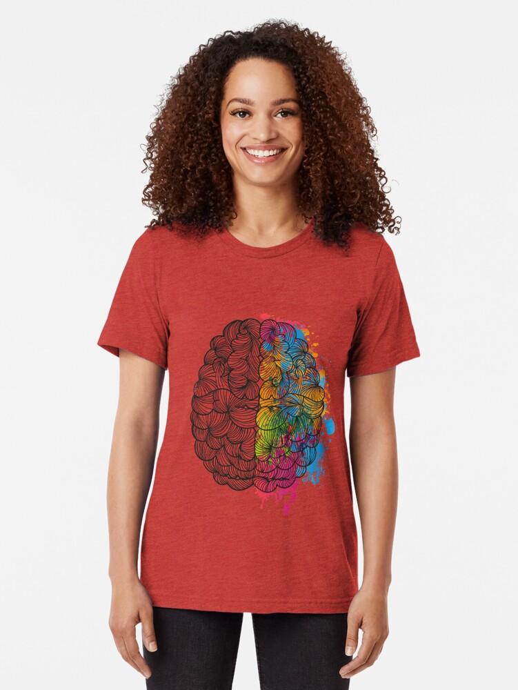 Vista alternativa de Camiseta de tejido mixto Mi cerebro