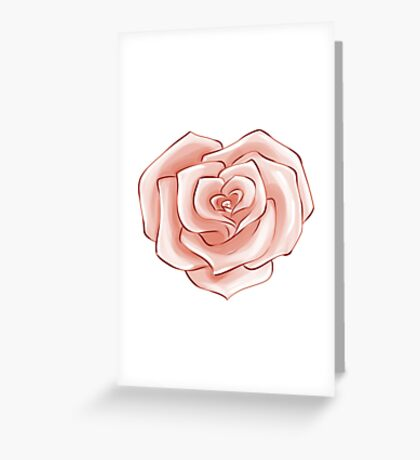 Heart Rose Valentine Inspired Flower Pattern Greeting Card