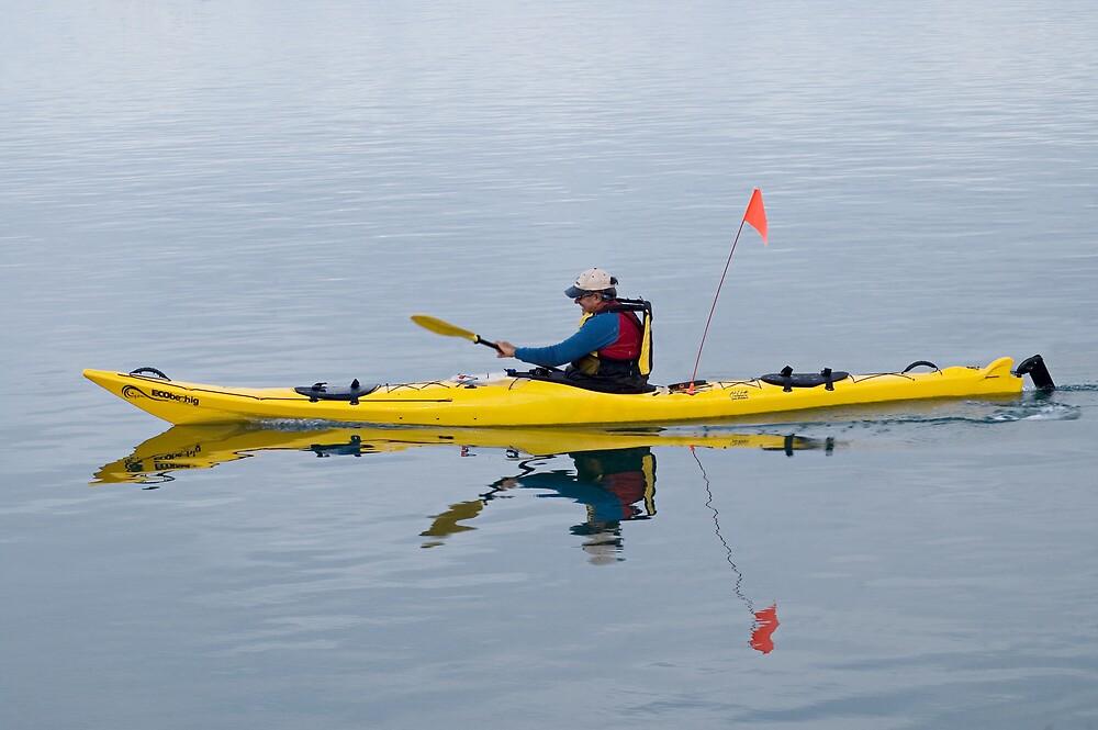 yellow kayak by Judy Harland