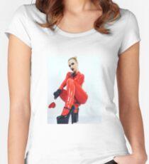 Miss Beyla Hughes Latex Leder PVC Model Cosplay  Women's Fitted Scoop T-Shirt