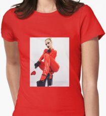 Miss Beyla Hughes Latex Leder PVC Model Cosplay  Womens Fitted T-Shirt
