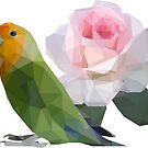 Lowpoly Lovebird Roseicollis with Rose by Mariewsart