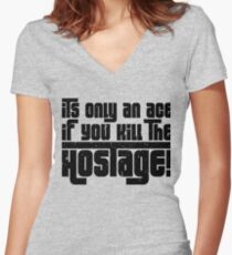 Hostage Ace #1 - Black Gritty [Roufxis] Women's Fitted V-Neck T-Shirt