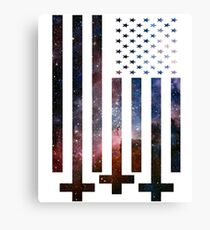 Anti-Christ Galaxy Universe American Flag Alternative Modern Design Canvas Print
