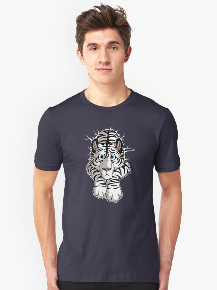 STUCK - White Tiger Unisex T-Shirt Front