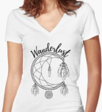 Wanderlust White Women's Fitted V-Neck T-Shirt