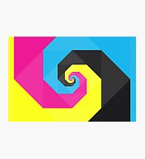 Abstract Spiral Art Full of Color Blue, Yellow, Pink, Black Photographic Print