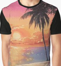 BEACH SUNSET pixelart Graphic T-Shirt
