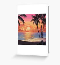 BEACH SUNSET pixelart Greeting Card