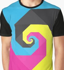 Abstract Spiral Art Full of Color Blue, Yellow, Pink, Black Graphic T-Shirt