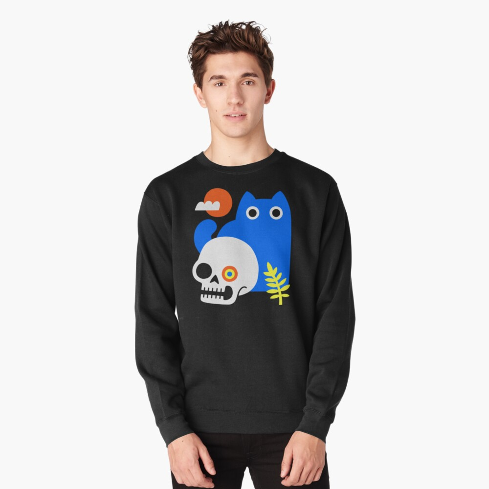 Little Blue Cat Pullover Sweatshirt