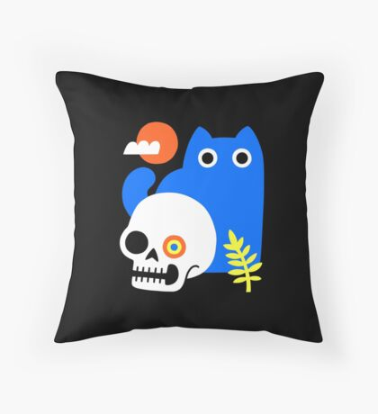 Little Blue Cat Throw Pillow