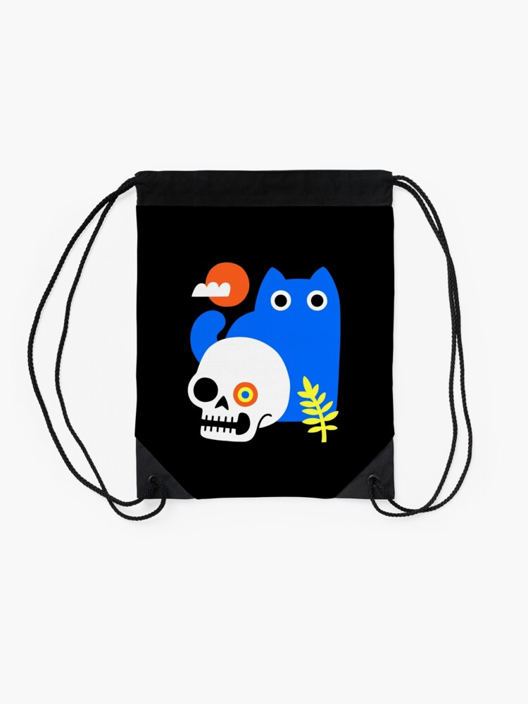 Alternate view of Little Blue Cat Drawstring Bag
