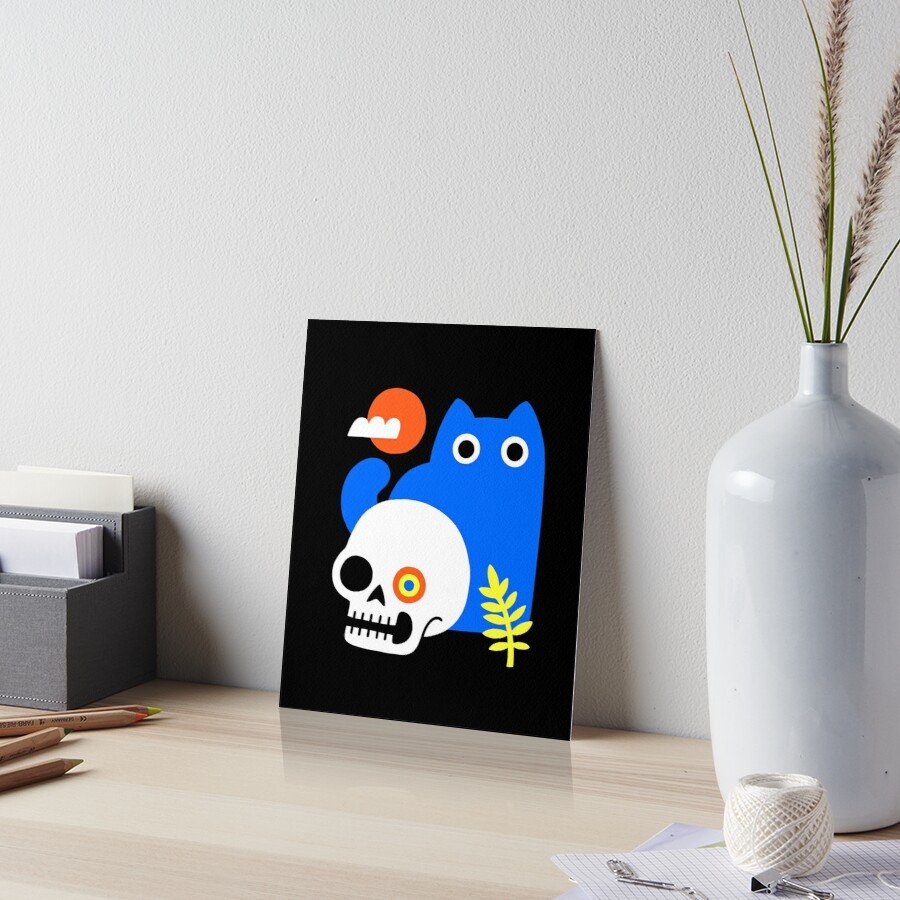 Little Blue Cat Art Board Print