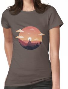 Flat Design Landscape Womens Fitted T-Shirt