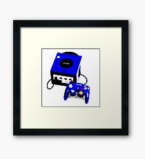 Electric Blue Game Cube Framed Print