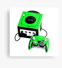 Electric Green Game Cube Metal Print