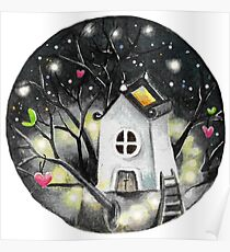 Love nest with fairy lights Poster