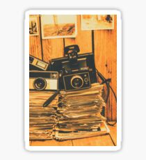 Vintage photography stack Sticker
