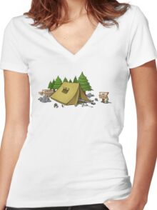 no camping Women's Fitted V-Neck T-Shirt