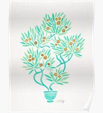 Bonsai Tree – Mint & Gold Poster