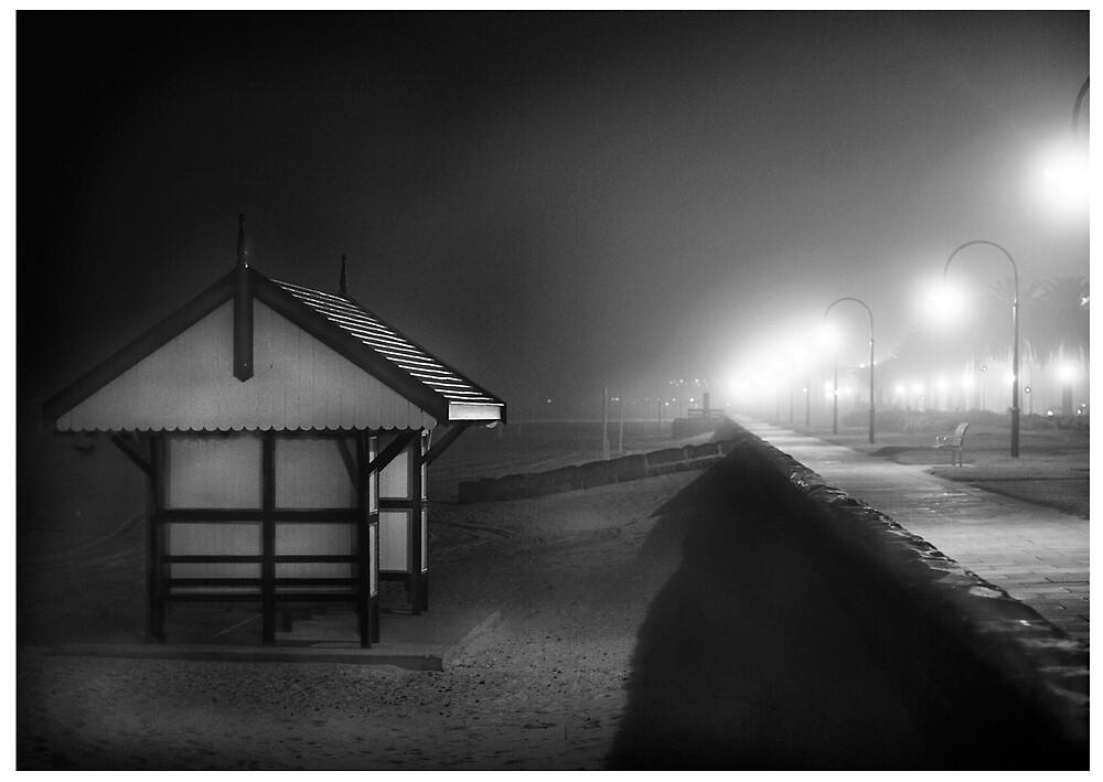 Black & white shed Albert Park by Melinda Kerr