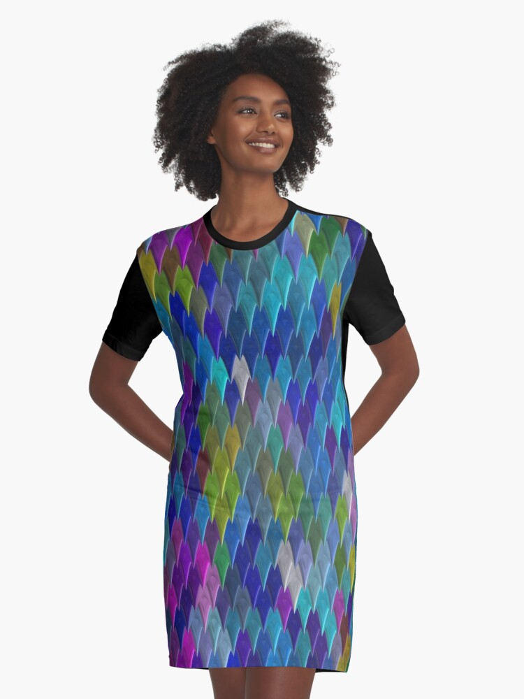 Abstract Colourful Bright Simple Design Graphic T-Shirt Dress Front