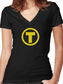 Teen Titans Terra Symbol Women's Fitted V-Neck T-Shirt