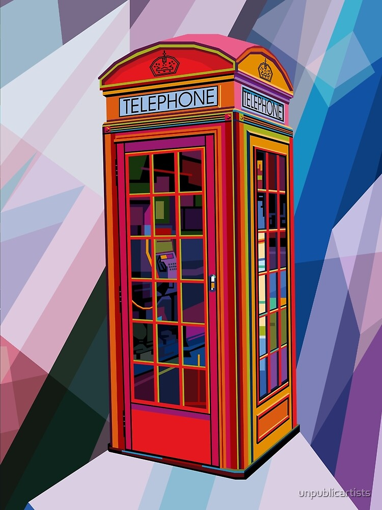 pop art contemporary artist conqr bright 3d digital vector london telephone booth landmark by. Black Bedroom Furniture Sets. Home Design Ideas