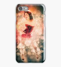 Young sexy woman in a red corset wearing Santa hat  iPhone Case/Skin