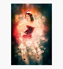 Young sexy woman in a red corset wearing Santa hat  Photographic Print