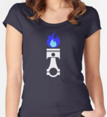 Flaming Piston (nitrous white) Women's Fitted Scoop T-Shirt
