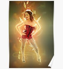 Young sexy woman in a red corset wearing Santa hat  Poster