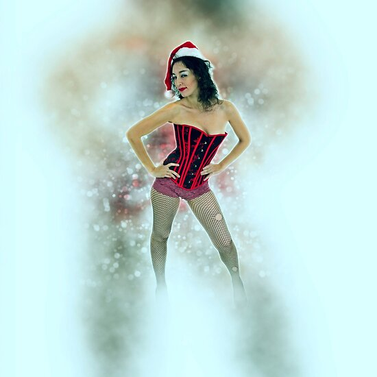 Young sexy woman in a red corset wearing Santa hat  by PhotoStock-Isra
