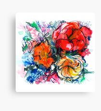 bouquet of peony, ranunculus, poppy, watercolor sketch Canvas Print