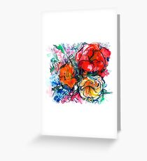 bouquet of peony, ranunculus, poppy, watercolor sketch Greeting Card