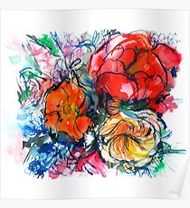 bouquet of peony, ranunculus, poppy, watercolor sketch Poster